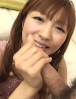 Rika Sakurai Asian gets sperm all over face after sucking stiffy