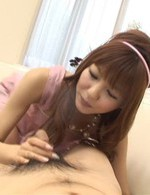 Rika Sakurai Asian puts vibrator on cunt and gets cum from dick