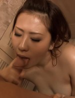 Ai Yuumi Asian in fishnet stockings gets dick in mouth to suck it