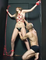 Hatsuka Kobayashi Asian with melons in red ropes is fingered