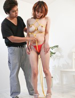 Moe Aizawa Asian has yellow ropes arond boobs and between labia