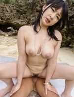 Megumi Haruka sucks boners and gets them in hairy cunt on beach