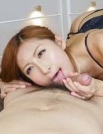 Reira Aisaki with sexy haircut and lingerie licks woodies at once