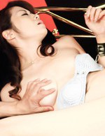 Maki Hojo Asian gets labia spread and vibrator stick inside slit