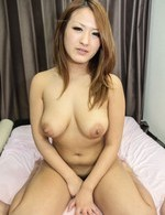 Akiho Asian licks cock very well before rubbing it with big cans