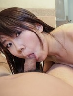 Namiko Asian has cum in palm after she sucked boner so erotically