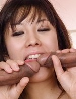 Hina Tokisaka rides dongs with juicy tits after sucking them well