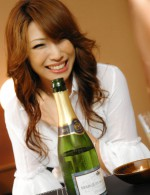 Aya Sakuraba enjoys some champagne and cum on her juicy pussy