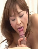 Hikaru Wakabayashi Asian takes dick in mouth and between melons