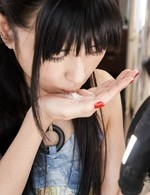 Satomi Ichihara pours in palms cum she gets after given blowjob