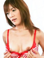 Nagisa Aiba Asian teases her clitoris with mini red vibrator