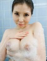 Sofia Takigawa caresses big boobs and pussy with foam in bathtub
