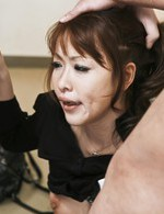 Rika Kurachi Asian with stockings and mask gets two dicks to suck