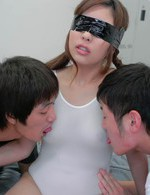 Ami Kurosawa Asian with broken body is fucked while she rubs cock