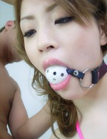 Cute Yuu Mahiru ball-gagged and assfucked with a creampie