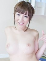 Runa Hanekawa has hairy snatch touched and gets cum on racy jugs