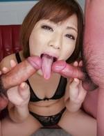 Tomoka Sakurai is aroused so hard that squirts while sucks cocks