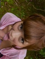 Anna Anjo Asian in cute outfit is happy to suck boner in nature