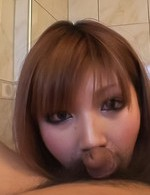 Mariko Asian sucks stiffy and pees from aroused pussy in a bowl