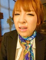 Hikaru Shiina in office suit gets cum on face from sucked tools