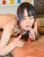Ruka Kanae Asian in tiny thong licks and sucks dick with pleasure