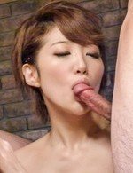 Makoto Yuukia Asian sucks two dongs and is fucked with dildo