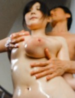 Rie Tachikawa gets oil on big jugs and on ass and sucks tools