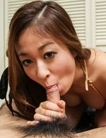 Risa Misaki Asian pours cum in palm from licked and sucked tool