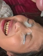 Aoi Miyama has slit licked while stroking tools and gets cumshots