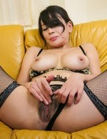 Rei Kitajima busty in fishnets gets cum from sucked joysticks