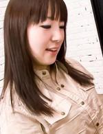 Hitomi Fujihara Asian takes hard cock deep in throat in blowjob