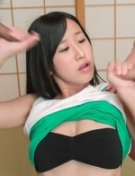 Suzu Ichinose Asian with round tits sucks two dicks same time