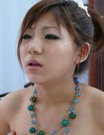Mahiru Tsubaki Asian in red thong licks and sucks hard joystick