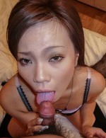 Sakiko Asian with long nails sucks cock and uses vibrator in slit
