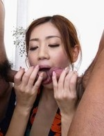 Kaori Maeda licks two dicks at once and is fucked under kimono