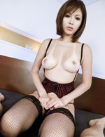 Mai Kuroki Asian with stockings is so erotic licking hard penis