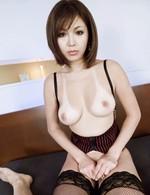 Mai Kuroki Asian with stockings is so erotic licking hard penis