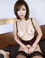 Mai Kuroki Asian with nude jugs takes dick out of pants to lick