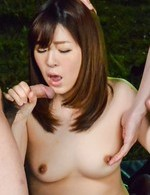 Kaho Asian has cunt licked and sucks cocks in outdoor gangbang