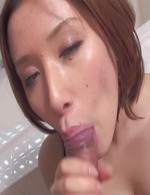 Emi Orihara Asian is fondled on cans while sucks and licks penis