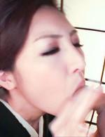 Koyuki Hara Asian in geisha dress gives delicate but good blowjob