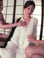 Koyuki Hara Asian rides phallus after licking and sucking it well