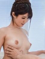Maya Kawamura Asian rubs her oiled boobies with man foot and cock