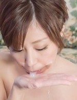 Chihiro Akino Asian with superb boobs sucks and rubs three cocks