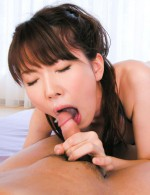 Ramu Nagatsuki Asian sucks penis before rubing it with labia
