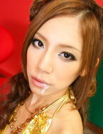 Yui Hatano Asian in golden dress has sperm on lips after blowjob