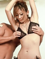 Erena Kurosawa Asian enjoys pleasure in hairy slit from vibrator