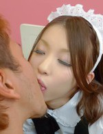 Nao Kojima Asian house keeper has cunt licked after showing it