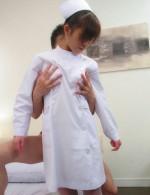 Petite cutie Miina Minamoto takes off white nylon for a creampie