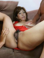 Busty Naho Hadsuki stripped and double-teamed with a creampie